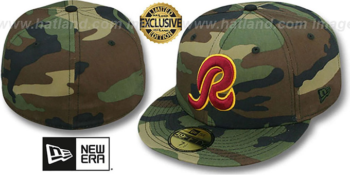 Redskins 'NFL TEAM-BASIC' Army Camo Fitted Hat by New Era : pictured without stickers that these products are shipped with