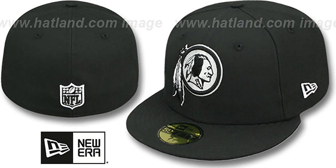 Redskins 'NFL TEAM-BASIC' Black-White Fitted Hat by New Era : pictured without stickers that these products are shipped with