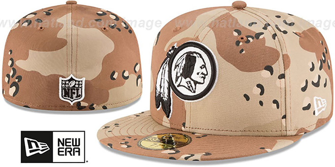 Redskins 'NFL TEAM-BASIC' Desert Storm Camo Fitted Hat by New Era : pictured without stickers that these products are shipped with