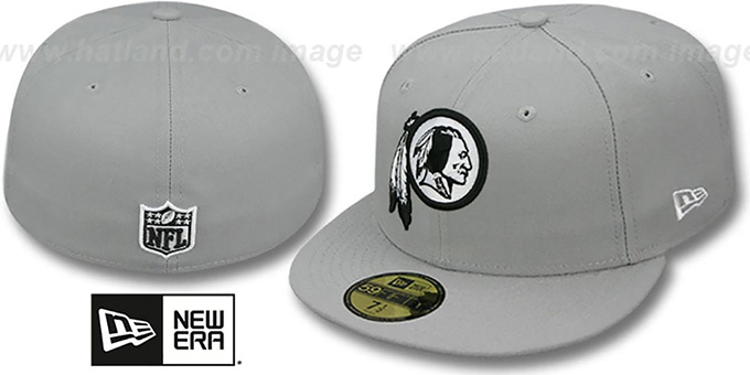 Redskins 'NFL TEAM-BASIC' Grey-Black-White Fitted Hat by New Era : pictured without stickers that these products are shipped with