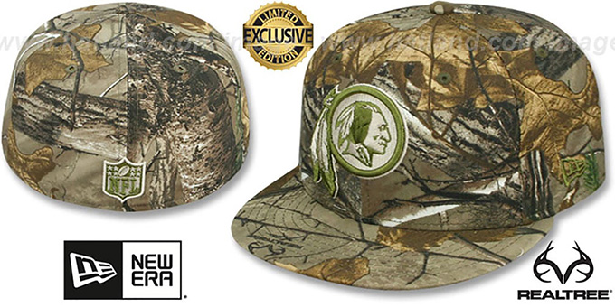 Redskins 'NFL TEAM-BASIC' Realtree Camo Fitted Hat by New Era : pictured without stickers that these products are shipped with