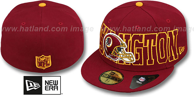 Redskins 'NFL WRAP-IT-UP' Burgundy Fitted Hat by New Era : pictured without stickers that these products are shipped with