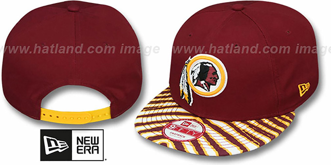 Redskins 'NFL ZUBAZ SNAPBACK' Burgundy Hat by New Era : pictured without stickers that these products are shipped with