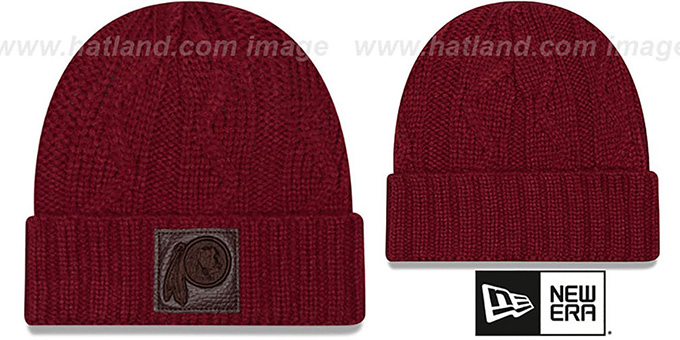 Redskins 'OHANA' Burgundy Knit Beanie Hat by New Era : pictured without stickers that these products are shipped with