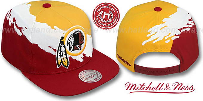 Redskins 'PAINTBRUSH SNAPBACK' Gold-White-Burgundy Hat by Mitchell and Ness : pictured without stickers that these products are shipped with
