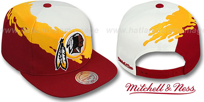 Redskins 'PAINTBRUSH SNAPBACK' White-Gold-Burgundy Hat by Mitchell & Ness : pictured without stickers that these products are shipped with