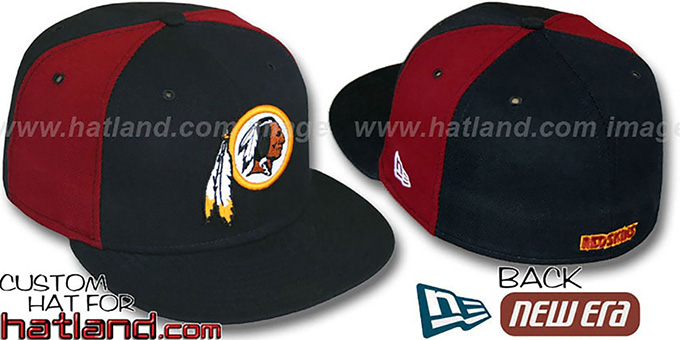 Redskins 'PINWHEEL-2' Black-Burgundy Fitted Hat : pictured without stickers that these products are shipped with
