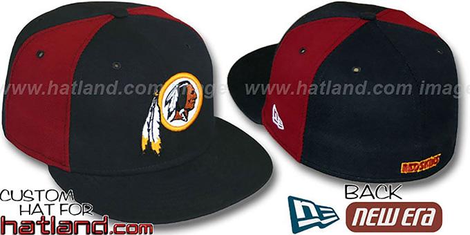 Washington Redskins PINWHEEL-2 Black-Burgundy Fitted Hat 36a7e849cee