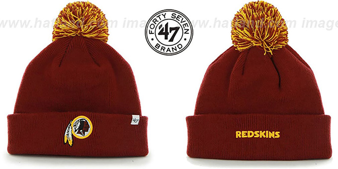 Redskins 'POMPOM CUFF' Burgundy Knit Beanie Hat by Twins 47 Brand : pictured without stickers that these products are shipped with