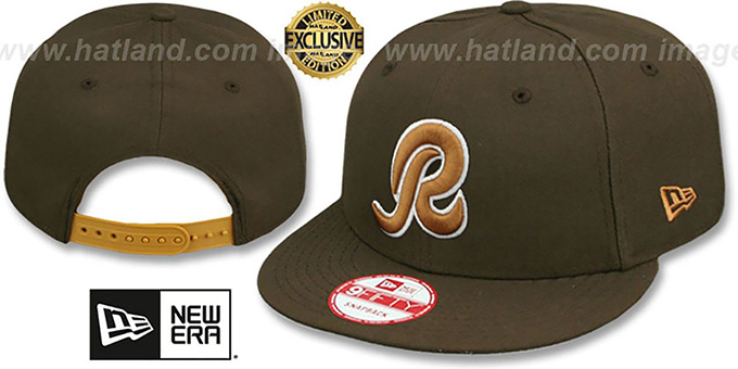Redskins 'R TEAM-BASIC SNAPBACK' Brown-Wheat Hat by New Era : pictured without stickers that these products are shipped with