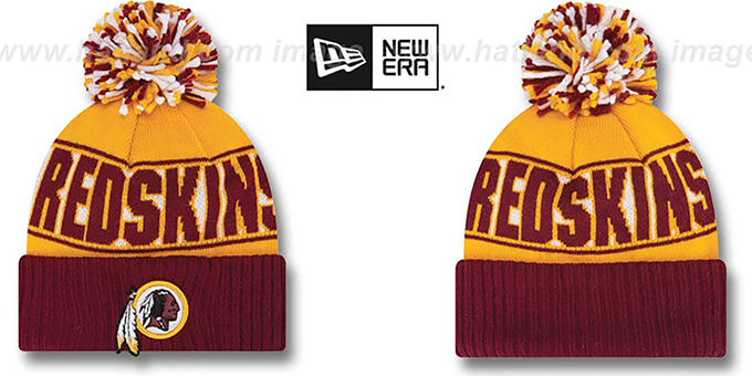Redskins 'REP-UR-TEAM' Knit Beanie Hat by New Era : pictured without stickers that these products are shipped with
