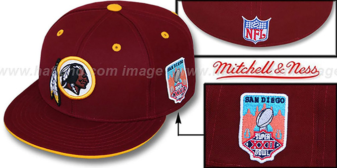 Redskins 'SCRIMMAGE PATCH' Burgundy Fitted Hat by Mitchell & Ness : pictured without stickers that these products are shipped with