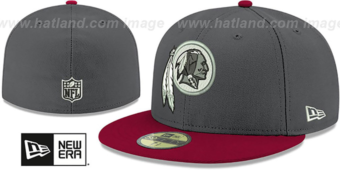 Redskins 'SHADER MELT-2' Grey-Burgundy Fitted Hat by New Era : pictured without stickers that these products are shipped with