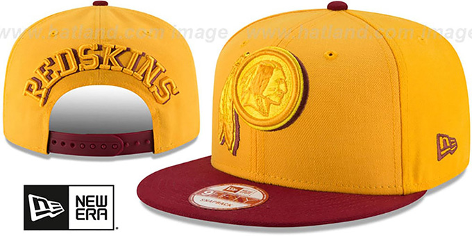 Redskins 'SHADOW SLICE SNAPBACK' Gold-Burgundy Hat by New Era : pictured without stickers that these products are shipped with