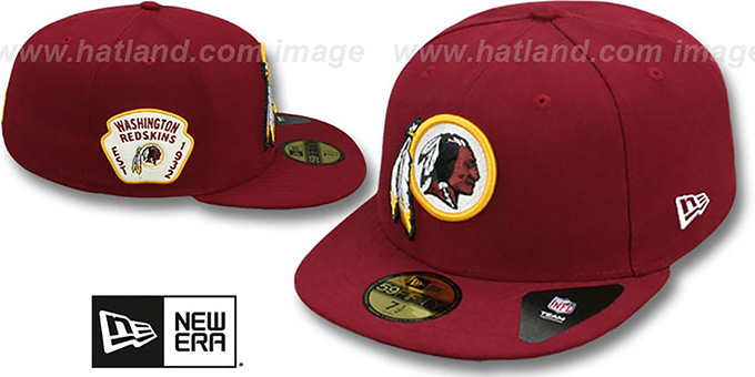 Redskins 'SIDE TEAM-PATCH' Burgundy Fitted Hat by New Era : pictured without stickers that these products are shipped with