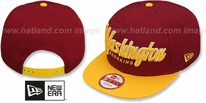 Redskins 'SNAP-IT-BACK SNAPBACK' Burgundy-Gold Hat by New Era : pictured without stickers that these products are shipped with