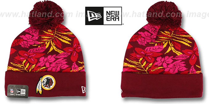 Redskins 'SNOW-TROPICS' Burgundy Knit Beanie Hat by New Era : pictured without stickers that these products are shipped with