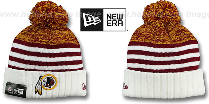 Redskins 'SNOWFALL STRIPE' Knit Beanie Hat by New Era : pictured without stickers that these products are shipped with