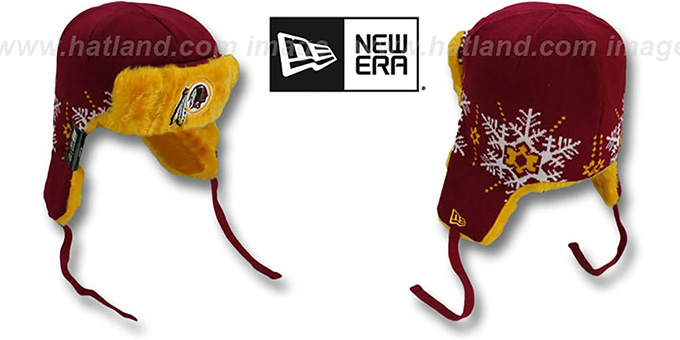 Redskins 'SNOWFLAKE TRAPPER' Burgundy-Gold Knit Hat by New Era : pictured without stickers that these products are shipped with