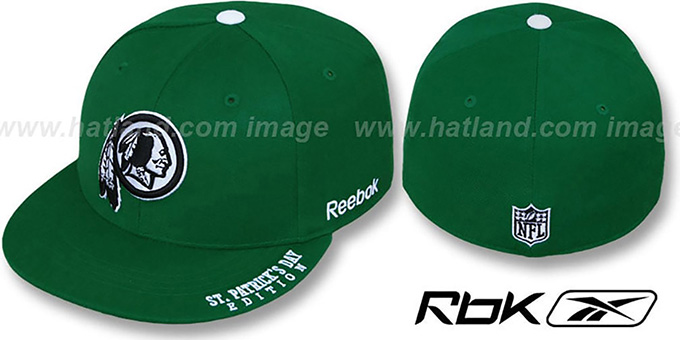Redskins 'St Patricks Day' Green Fitted Hat by Reebok : pictured without stickers that these products are shipped with