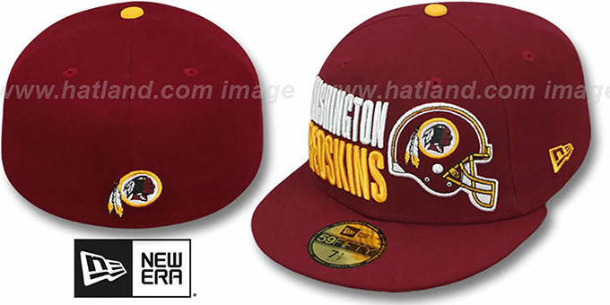 Redskins 'STACK-THE-BOX' Burgundy Fitted Hat by New Era : pictured without stickers that these products are shipped with