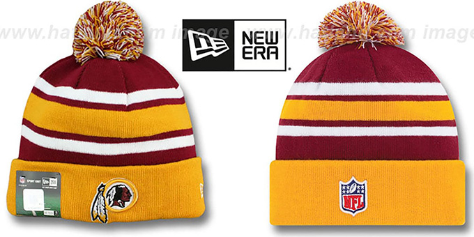 Redskins 'STADIUM' Knit Beanie Hat by New Era : pictured without stickers that these products are shipped with