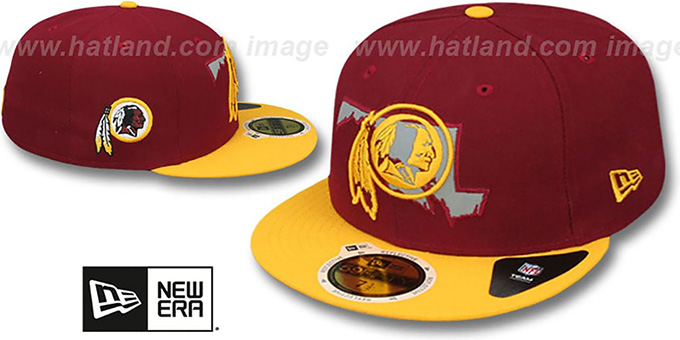 Redskins 'STATE REFLECT' Burgundy-Gold Fitted Hat by New Era : pictured without stickers that these products are shipped with