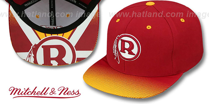 Redskins 'STOP-ON-A-DIME SNAPBACK' Burgundy-Gold Hat by Mitchell and Ness : pictured without stickers that these products are shipped with