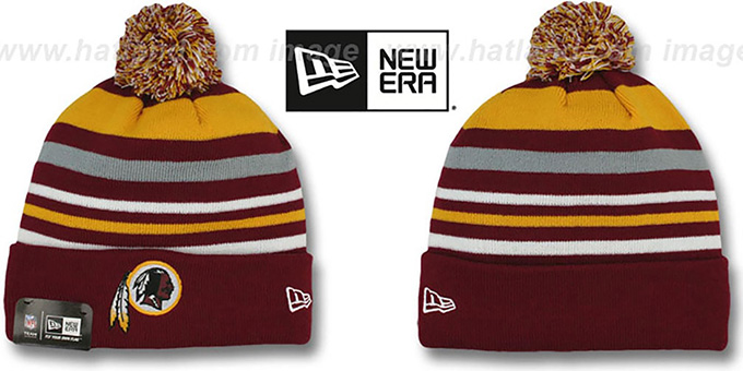Redskins 'STRIPEOUT' Knit Beanie Hat by New Era : pictured without stickers that these products are shipped with