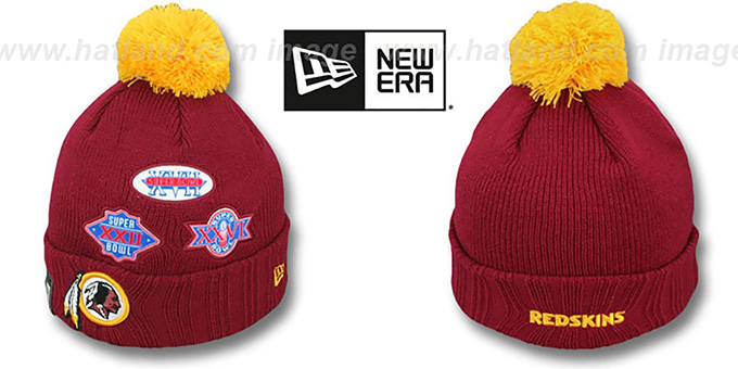 Redskins 'SUPER BOWL PATCHES' Burgundy Knit Beanie Hat by New Era : pictured without stickers that these products are shipped with