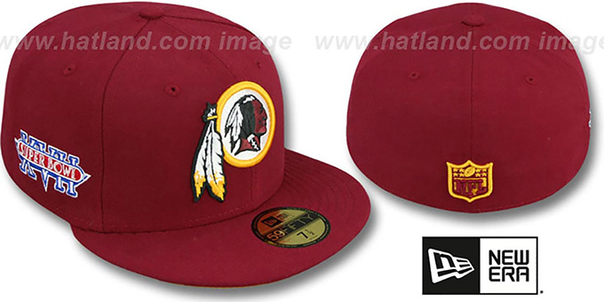 Redskins 'SUPER BOWL XVII' Burgundy Fitted Hat by New Era : pictured without stickers that these products are shipped with
