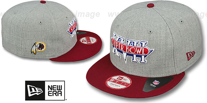 Redskins 'SUPER BOWL XVII SNAPBACK' Grey-Burgundy Hat by New Era : pictured without stickers that these products are shipped with