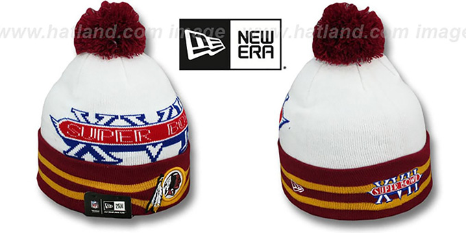 Redskins 'SUPER BOWL XVII' White Knit Beanie Hat by New Era : pictured without stickers that these products are shipped with