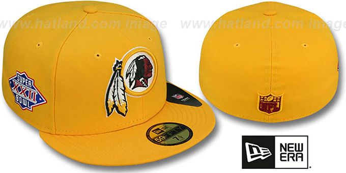 Redskins 'SUPER BOWL XXII' Gold Fitted Hat by New Era : pictured without stickers that these products are shipped with