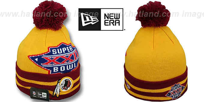 Redskins 'SUPER BOWL XXII' Gold Knit Beanie Hat by New Era : pictured without stickers that these products are shipped with