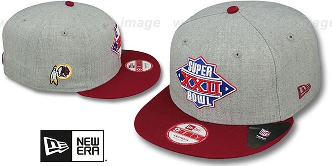 Redskins 'SUPER BOWL XXII SNAPBACK' Grey-Burgundy Hat by New Era : pictured without stickers that these products are shipped with