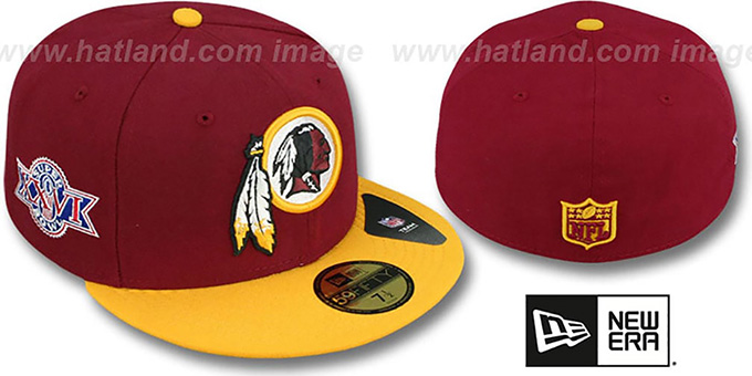 Redskins 'SUPER BOWL XXVI' Burgundy-Gold Fitted Hat by New Era : pictured without stickers that these products are shipped with