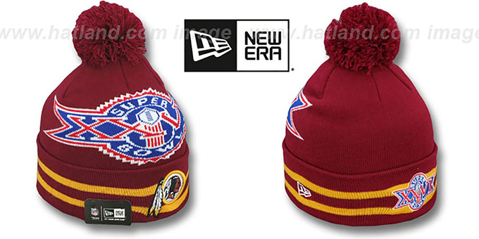 Redskins 'SUPER BOWL XXVI' Burgundy Knit Beanie Hat by New Era : pictured without stickers that these products are shipped with