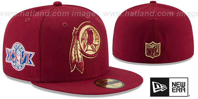 Redskins 'SUPER BOWL XXVI GOLD-50' Burgundy Fitted Hat by New Era : pictured without stickers that these products are shipped with