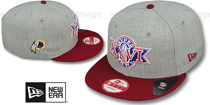 Redskins 'SUPER BOWL XXVI SNAPBACK' Grey-Burgundy Hat by New Era : pictured without stickers that these products are shipped with