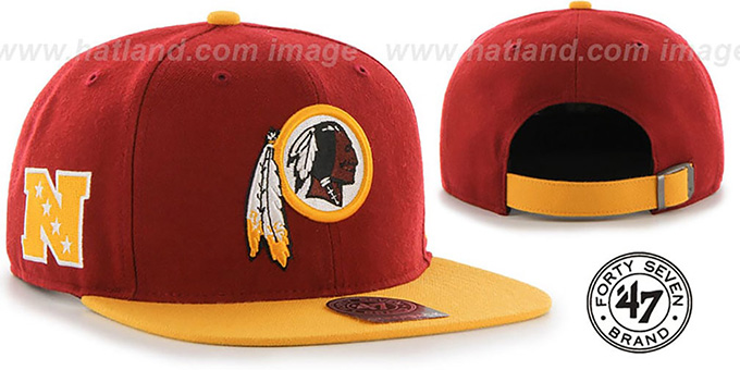 Redskins 'SUPER-SHOT STRAPBACK' Burgundy-Gold Hat by Twins 47 Brand : pictured without stickers that these products are shipped with