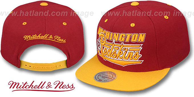 Redskins 'TAILSWEEP SNAPBACK' Burgundy-Gold Hat by Mitchell and Ness : pictured without stickers that these products are shipped with