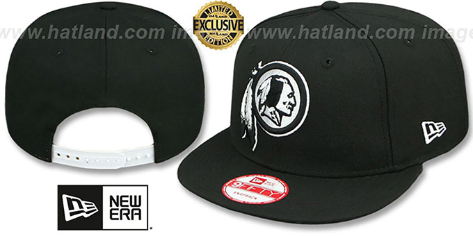 Redskins 'TEAM-BASIC SNAPBACK' Black-White Hat by New Era : pictured without stickers that these products are shipped with
