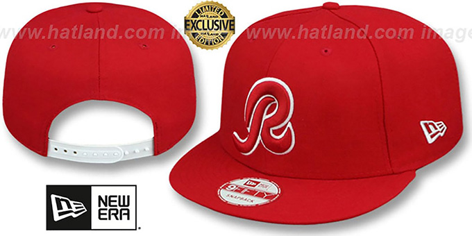 Redskins 'R TEAM-BASIC SNAPBACK' Red-White Hat by New Era : pictured without stickers that these products are shipped with