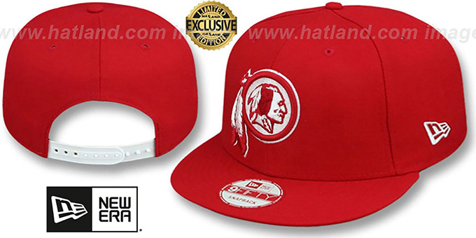Redskins 'TEAM-BASIC SNAPBACK' Red-White Hat by New Era : pictured without stickers that these products are shipped with