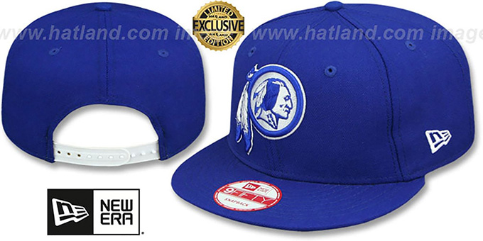 Redskins 'TEAM-BASIC SNAPBACK' Royal-White Hat by New Era : pictured without stickers that these products are shipped with