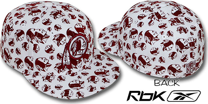 Redskins 'TEAM-FLOCKING ALL-OVER' White Fitted Hat by Reebok : pictured without stickers that these products are shipped with