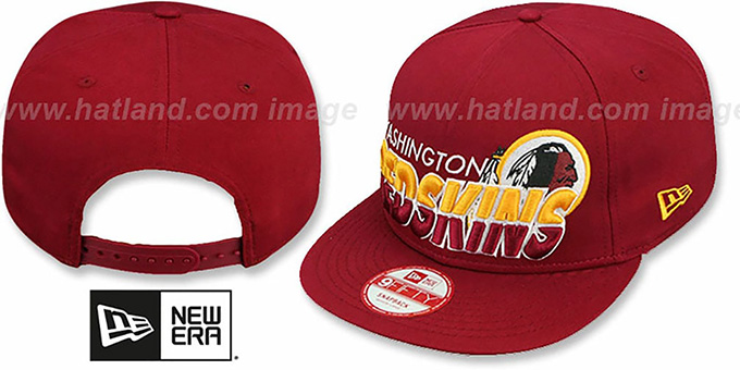 Redskins 'TEAM-HORIZON SNAPBACK' Burgundy Hat by New Era : pictured without stickers that these products are shipped with