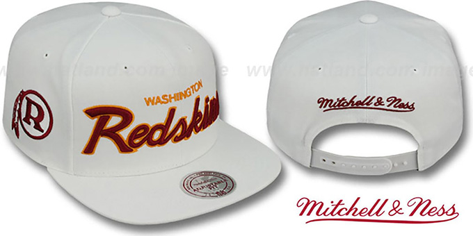 sale retailer 8a36b 9abcc Washington Redskins TEAM-SCRIPT SNAPBACK White Hat by Mitchell and Ness