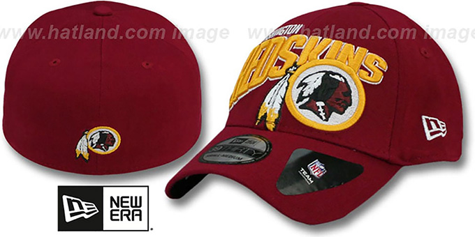Redskins 'TEAM SLOPE FLEX' Burgundy Hat by New Era : pictured without stickers that these products are shipped with